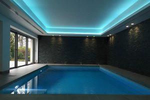 سقف کشسان نورپردازی لامپ RGB